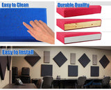 Arrowzoom 8 Pcs BLUE Color Eco-friendly Acoustic Textured Fabric Sound Echo Quiet Absorption Fire Retardant Panels KK1152