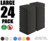 New 24 pcs Wedge Tiles Acoustic Panels Sound Absorption Studio Soundproof Foam 7 Colors KK1134