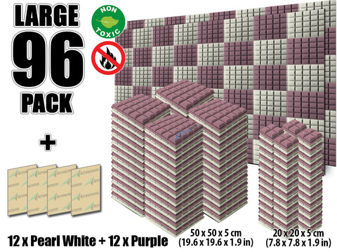 New 96 pcs Pearl White and Purple Bundle Hemisphere Grid Type Acoustic Panels Sound Absorption Studio Soundproof Foam KK1040