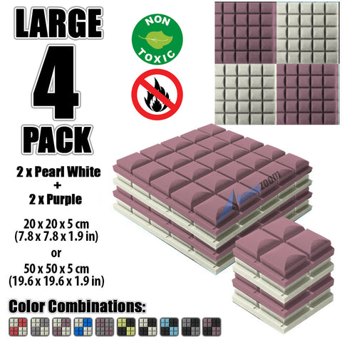 New 4 pcs Pearl White and Purple Bundle Hemisphere Grid Type Acoustic Panels Sound Absorption Studio Soundproof Foam KK1040