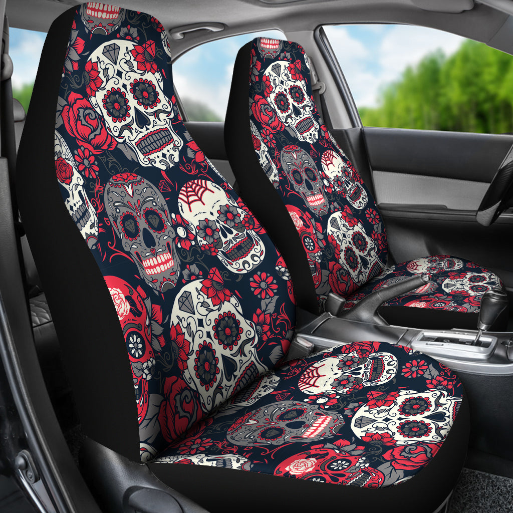 Sugar Skull Red Rose Universal Car Seat Covers Hover To Zoom