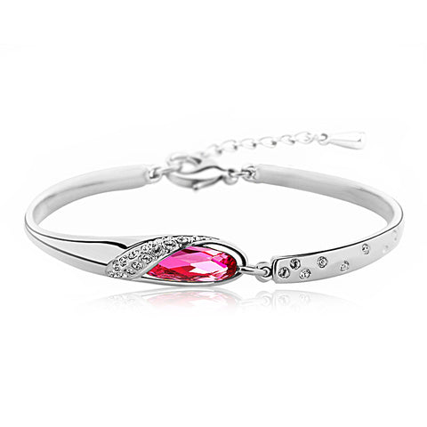 Rose Red Crystal Tear Drop Bangle