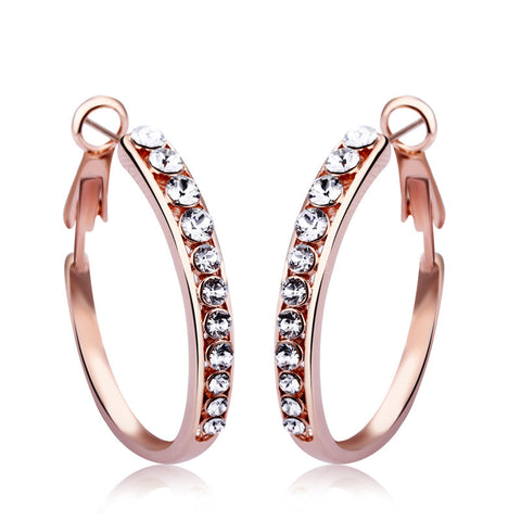 Classical Rose Gold Crystal Hoop Earring