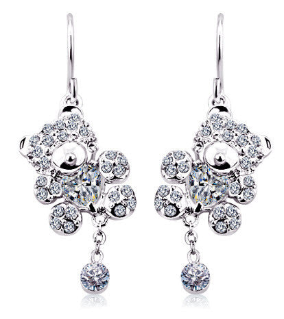 Teddy Bear Crystal Hook Earring