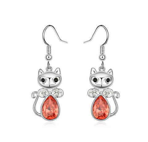 Red Crystal Cat Earring