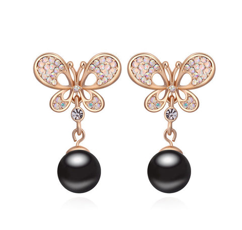 Black Pearl Butterfly Earring