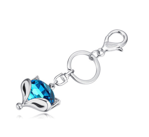 Blue Crystal Fox Keychain
