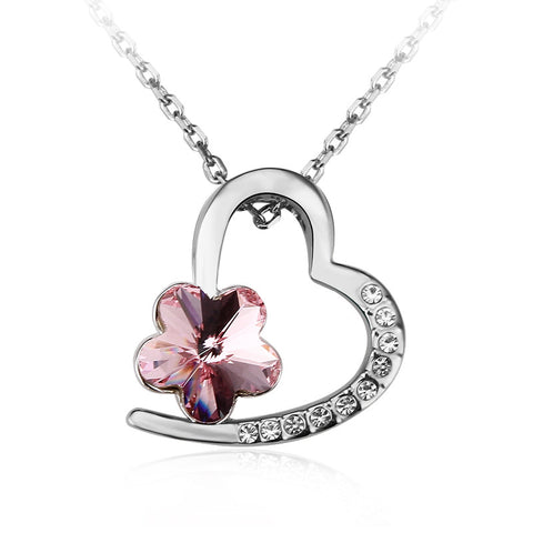 Heart in Flower Crystal Necklace