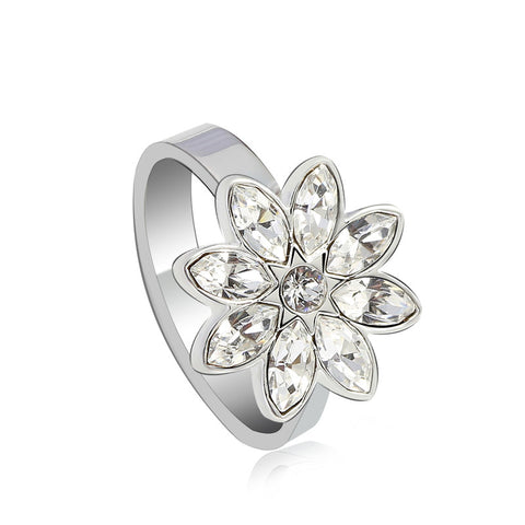Elegant Flower Petal Crystal Ring (Women)