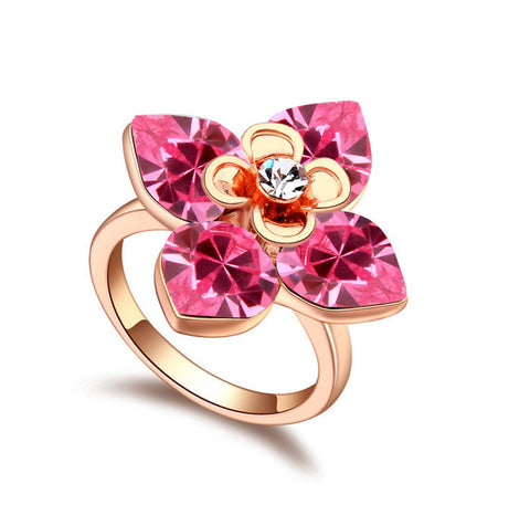 Rose Gold Crystal Floral Ring (Women)