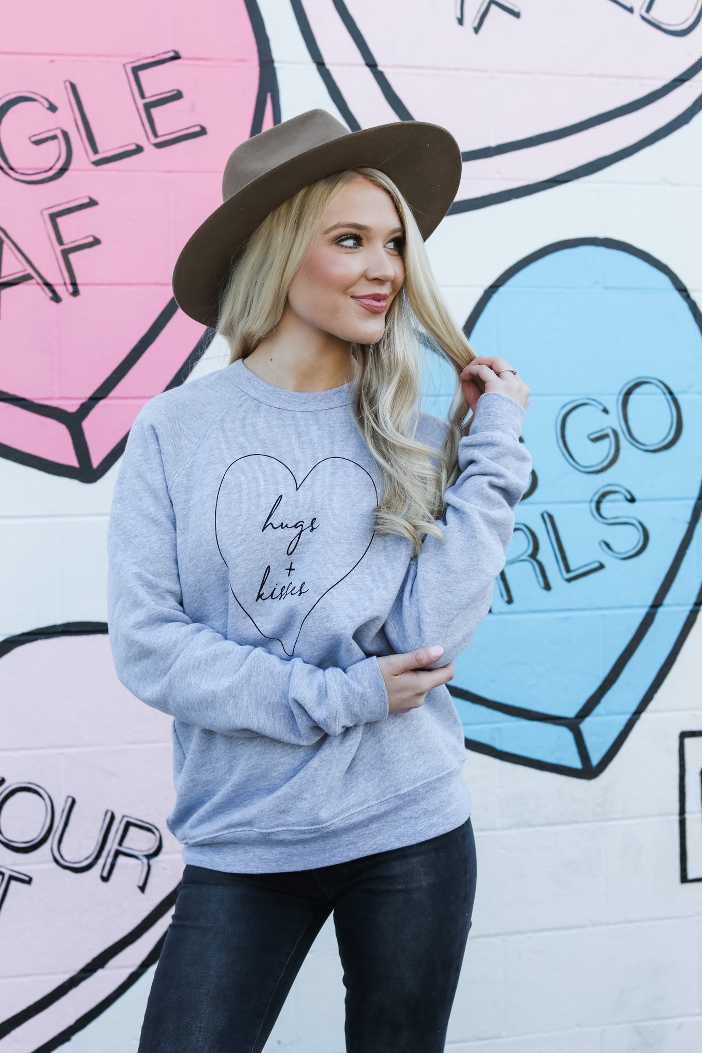 Hugs + Kisses Sweatshirt - Grey
