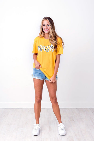 Nash Script Short Sleeve Tee - Gold