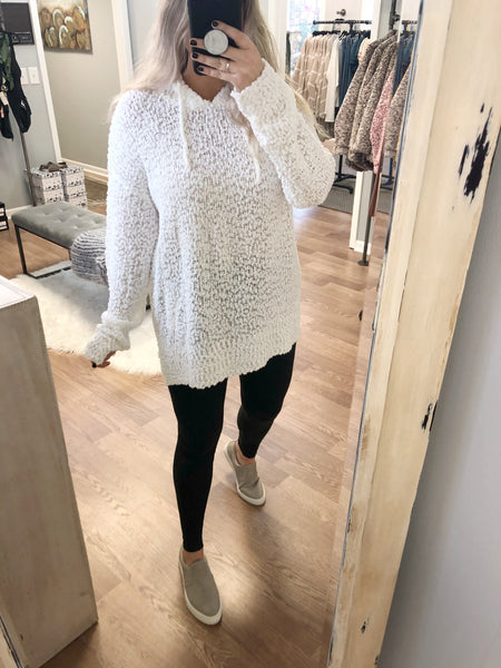 Bring On The Snow Hoodie - Ivory - Bates Boutique