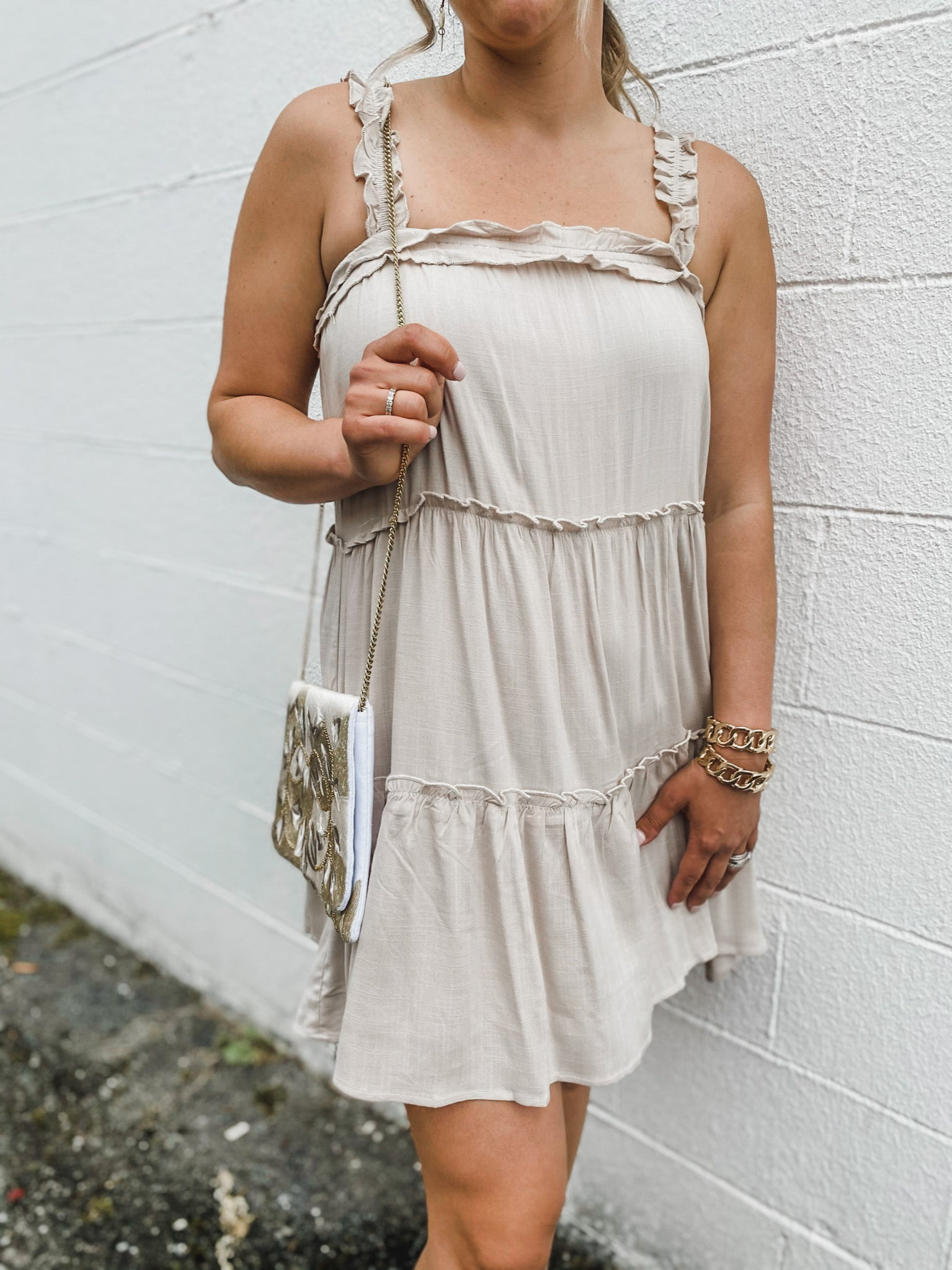 Dressing On Up Dress - Taupe