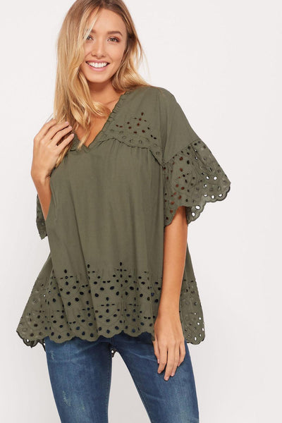 Be The Talk Of The Town Top - Olive - Bates Boutique
