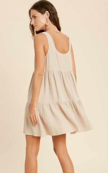 Button It Up Dress - Sand