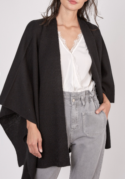 Williamsburg Poncho Cardigan - Black