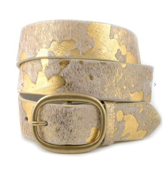 Cow Print Belt - Gold