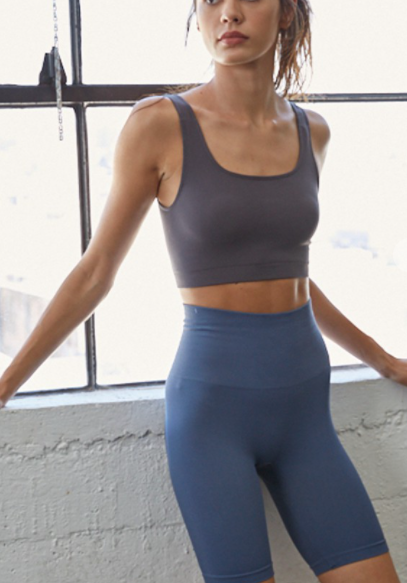 Seamless Cropped Tank - Charcoal