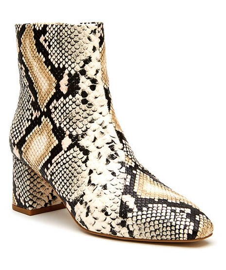 Natural Snake Booties - Cocoa