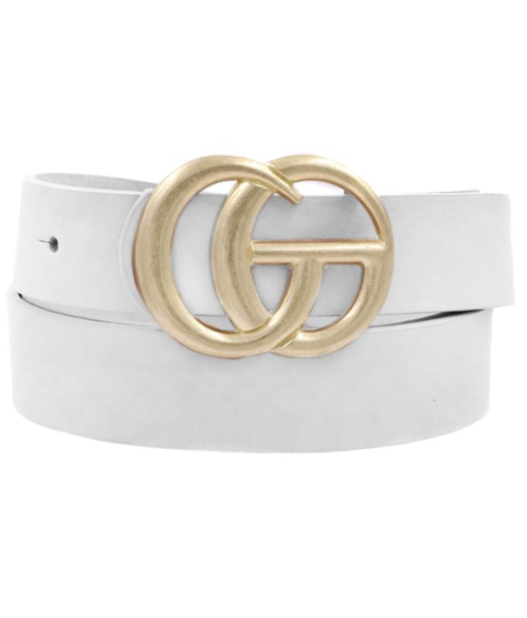 Thin Metal Buckle Belt - White