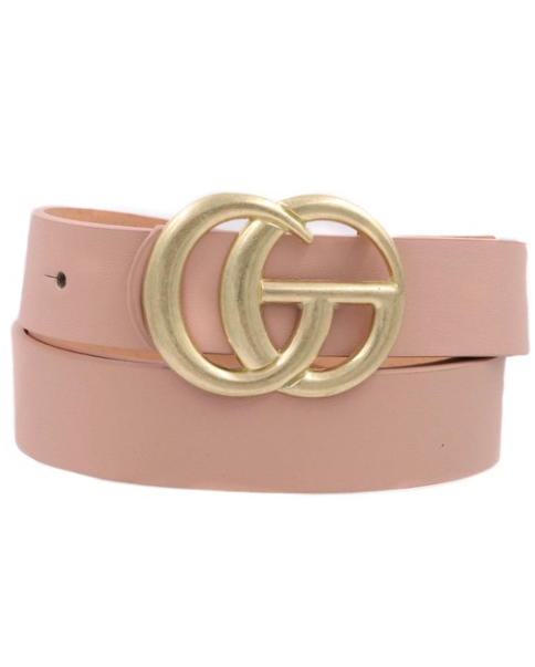 Thin Metal Buckle Belt - Blush