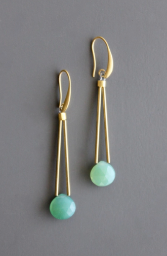 Tear Drop Earrings - Green Onyx