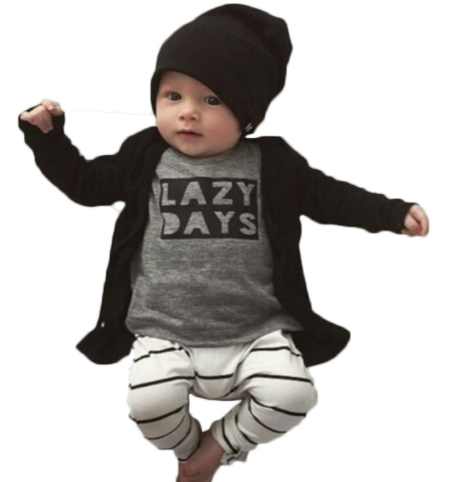 Lazy Days Tee & Striped Pants