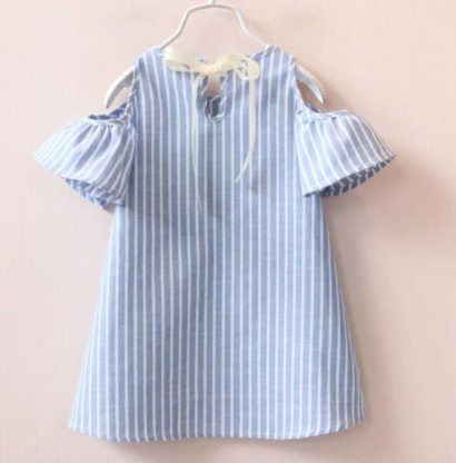 Striped Cold Shoulder Girls Dress