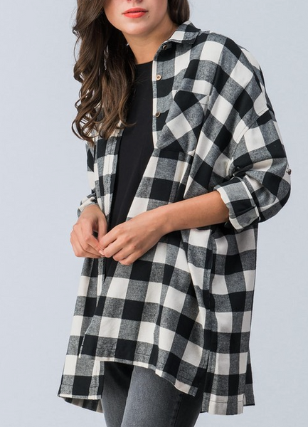 Check Up On Me Flannel - Black/White - Bates Boutique