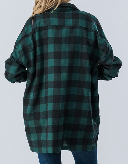 Check Up On Me Flannel - Green - Bates Boutique