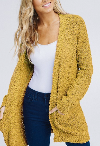Keep Me Extra Cozy Cardigan - Mustard