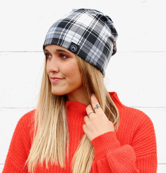 Black Plaid Peek-A-Boo Beanie - Bates Boutique