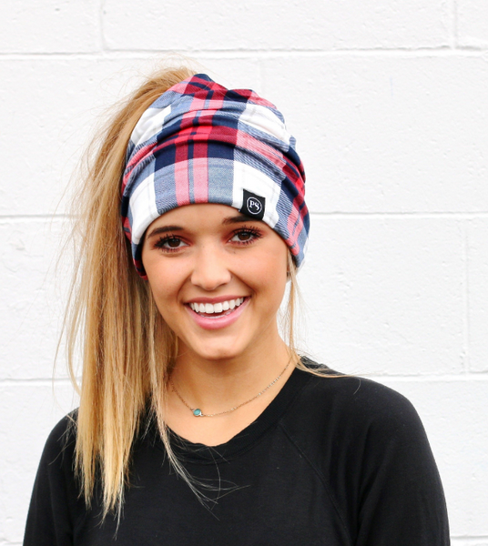 Red/Blue Plaid Peek-A-Boo Beanie