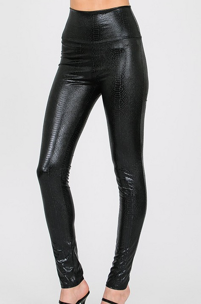 Fancy Faux Leather Leggings - Bates Boutique