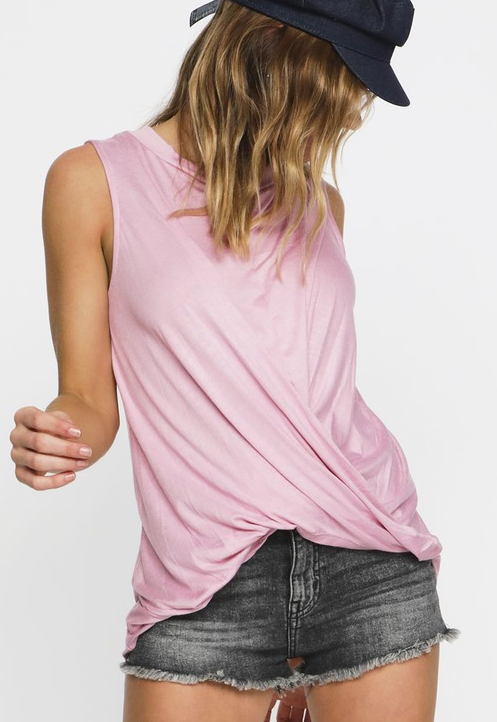 Twist And Shout Tank - Dusty Pink