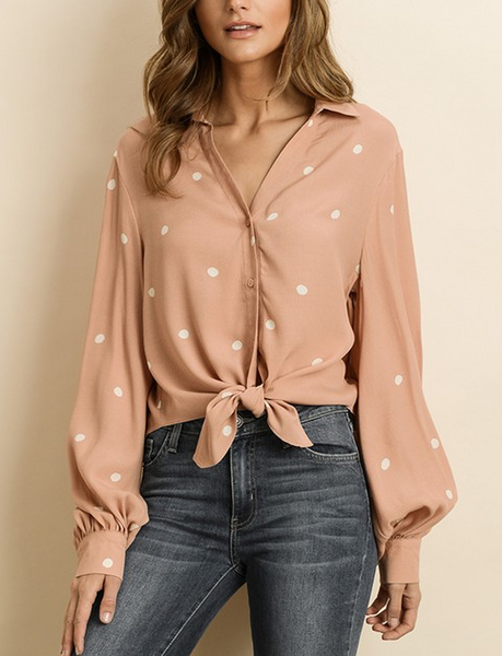 Dot The Lines Top - Blush