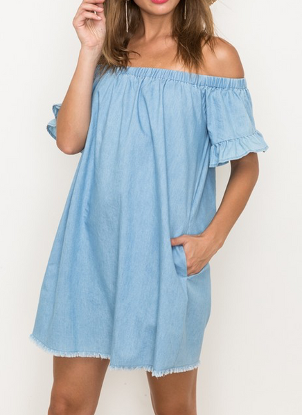 Chambray On Vacay Dress - Bates Boutique