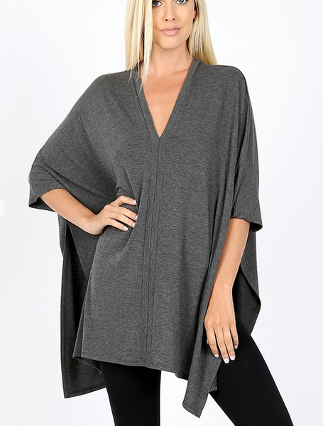 Go With The Flow Top - Charcoal