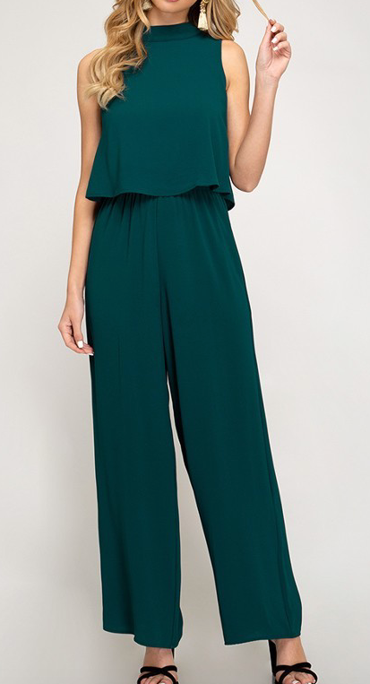 Tell Me A Story Jumpsuit - Teal Green