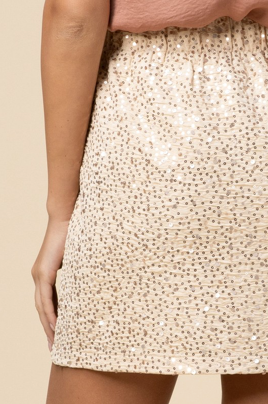 Shake A Little Sparkle Skirt - Sand