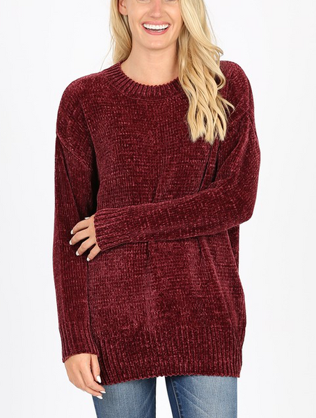 Quality Time Sweater - Burgundy
