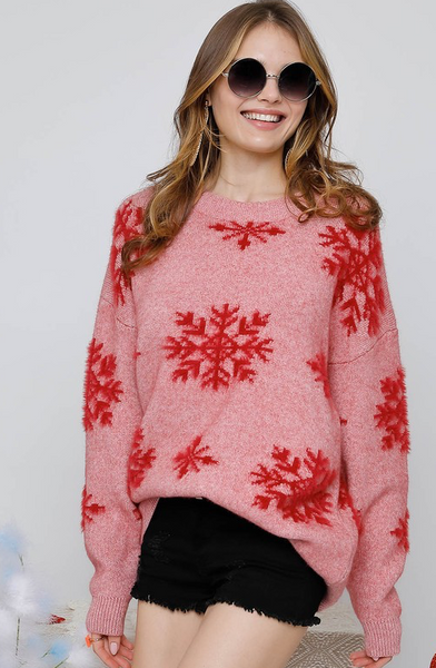 Snowy Days Sweater - Red