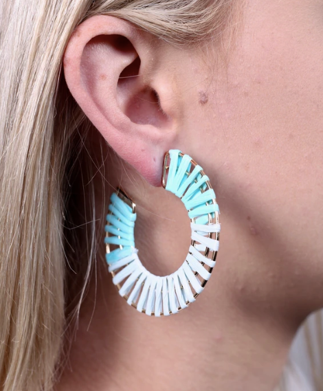 Panama Raffia Earrings - Blue