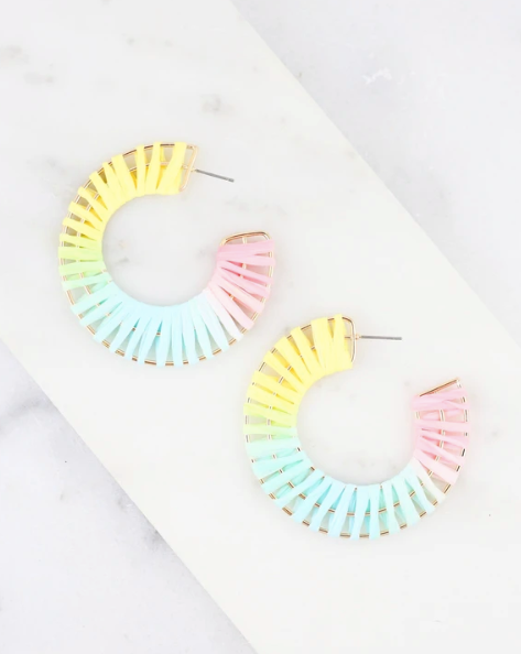 Panama Raffia Earrings - Multi