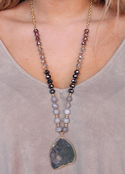 Warb Large Crystal Bead Necklace