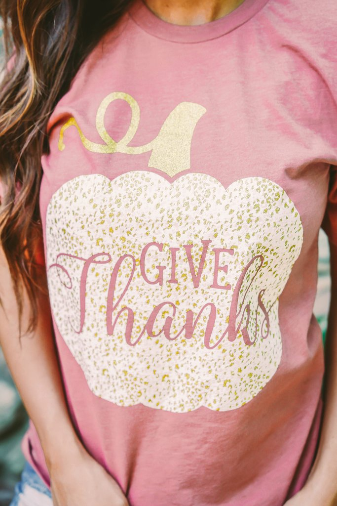 Give Thanks Tee - Mauve
