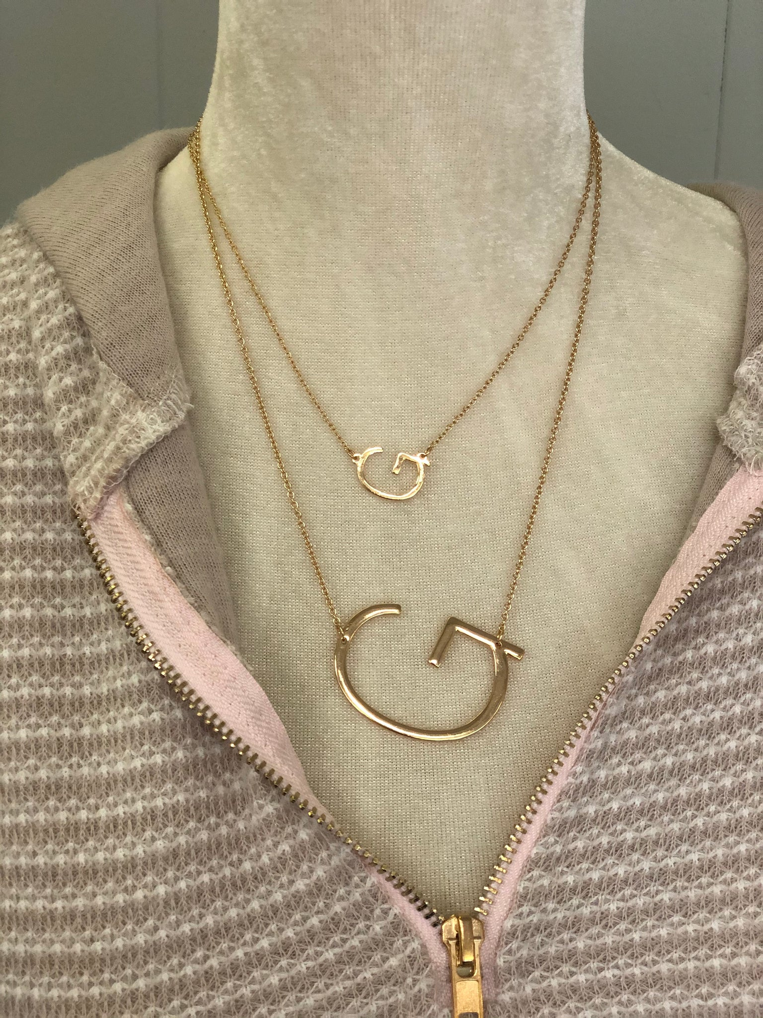 Double Initial Necklace - Gold