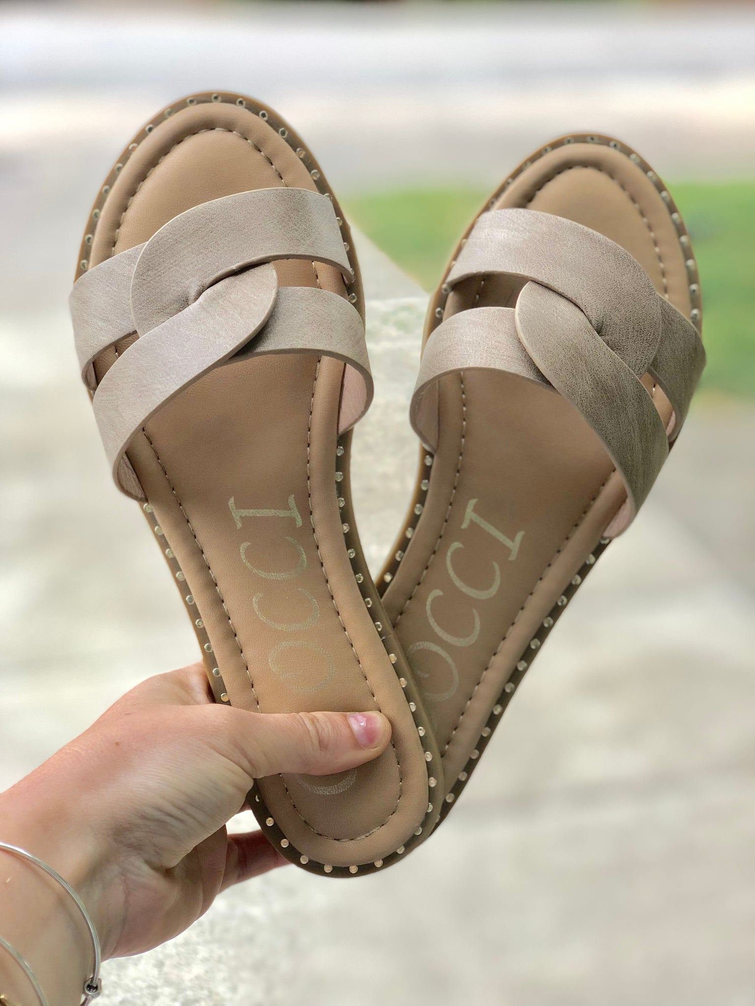 Studded All Around Sandals - Taupe