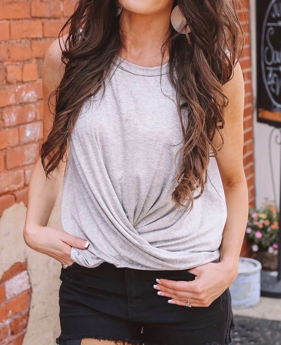 Twist And Shout Tank - Heather Grey